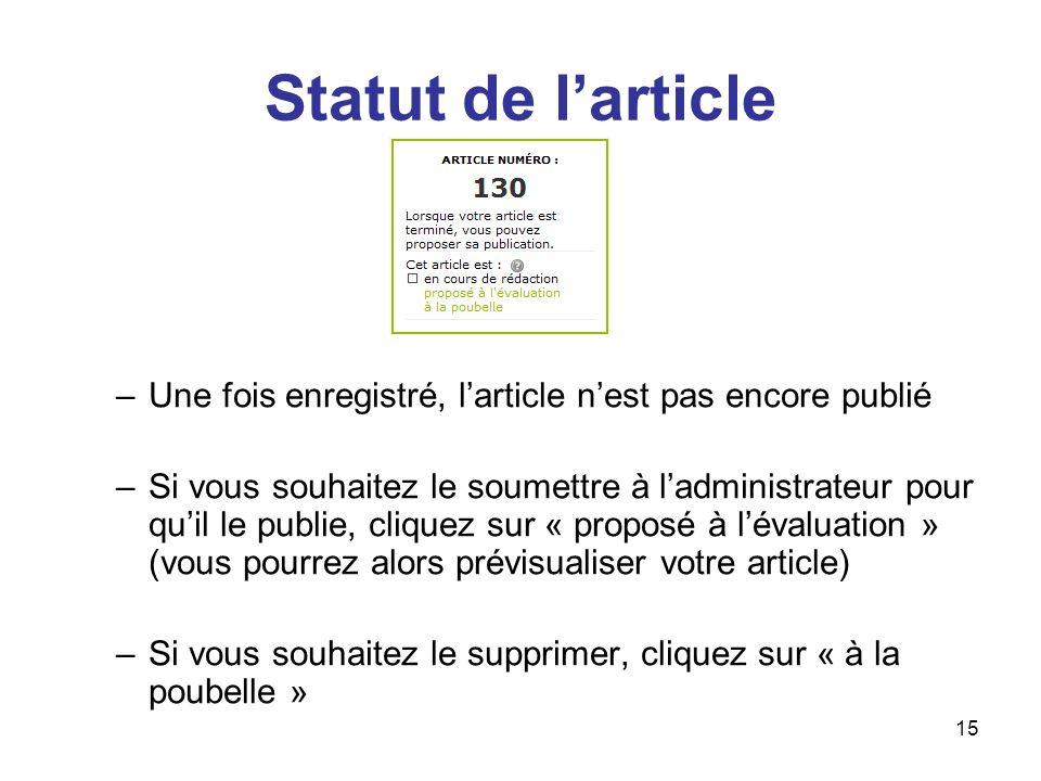 Statut de l'article Une fois enregistré, l'article n'est pas encore publié.