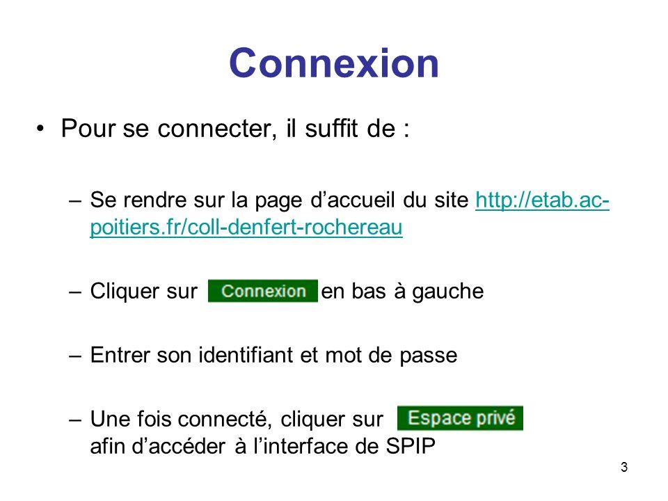 Connexion Pour se connecter, il suffit de :