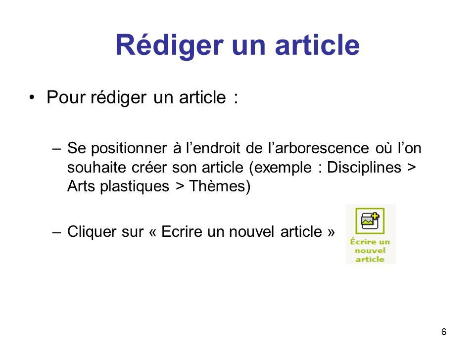 Rédiger un article Pour rédiger un article :