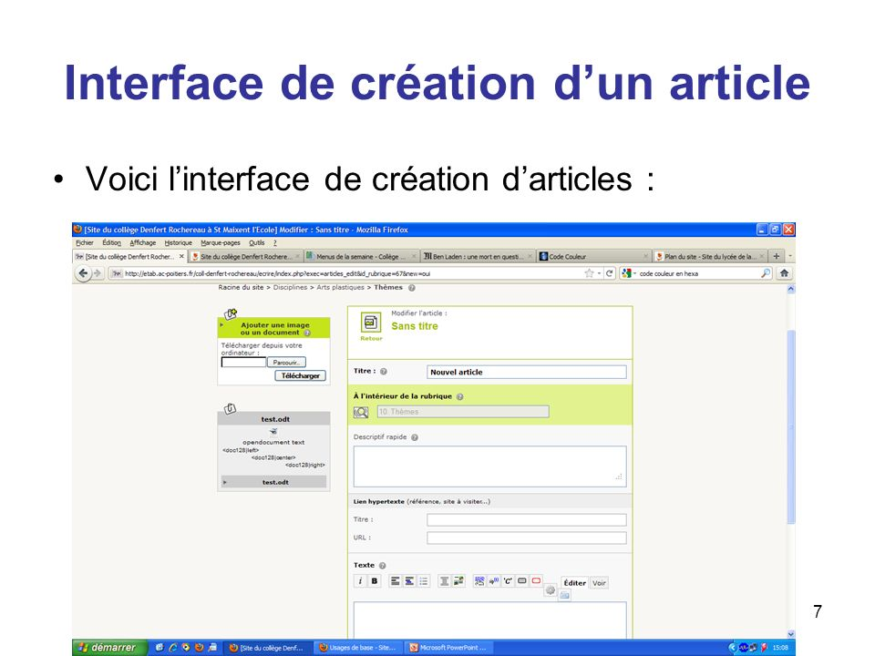 Interface de création d'un article