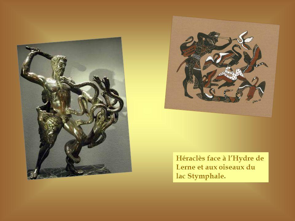 Héraclès face à l'Hydre de Lerne et aux oiseaux du lac Stymphale.