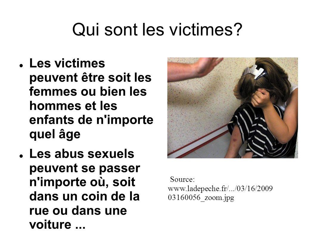 Qui sont les victimes Les victimes peuvent être soit les femmes ou bien les hommes et les enfants de n importe quel âge.