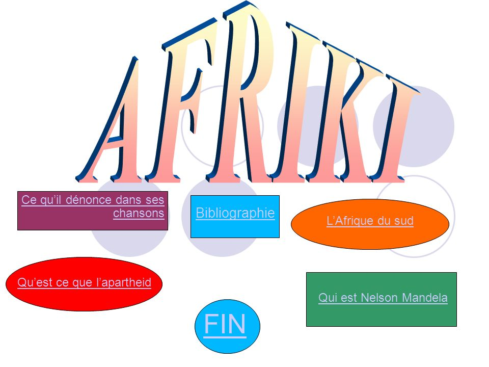 FIN AFRIKI Bibliographie Ce qu'il dénonce dans ses chansons