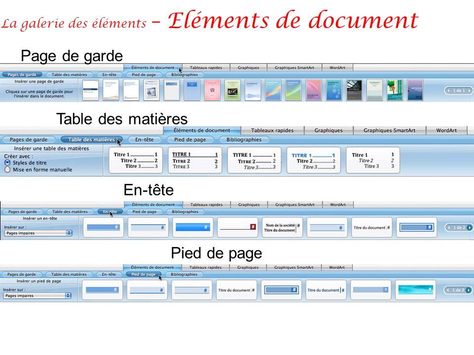 La galerie des éléments – Eléments de document