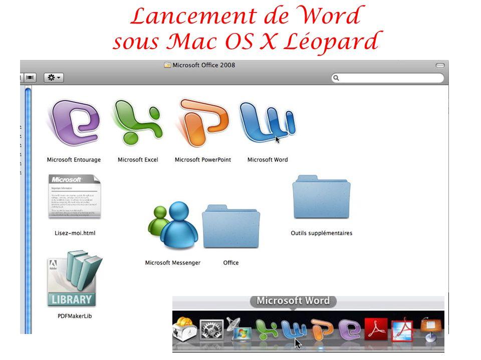 Lancement de Word sous Mac OS X Léopard