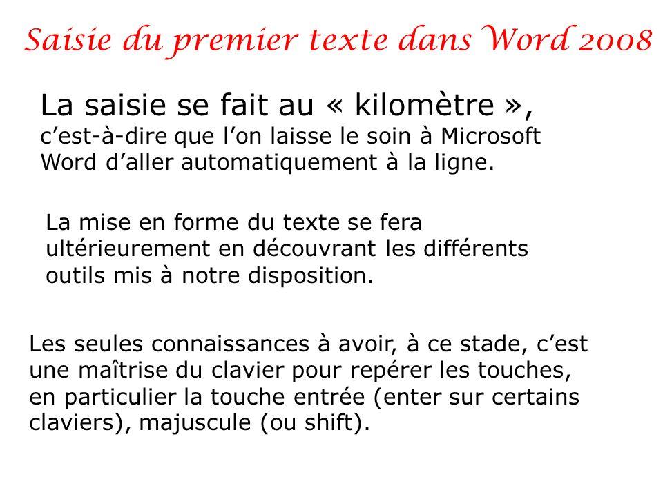 Saisie du premier texte dans Word 2008