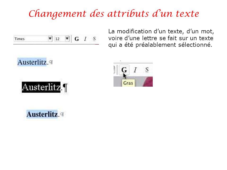 Changement des attributs d'un texte