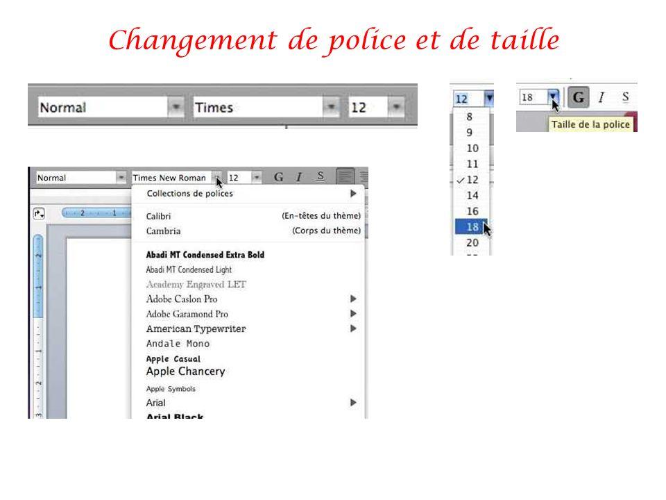 Changement de police et de taille