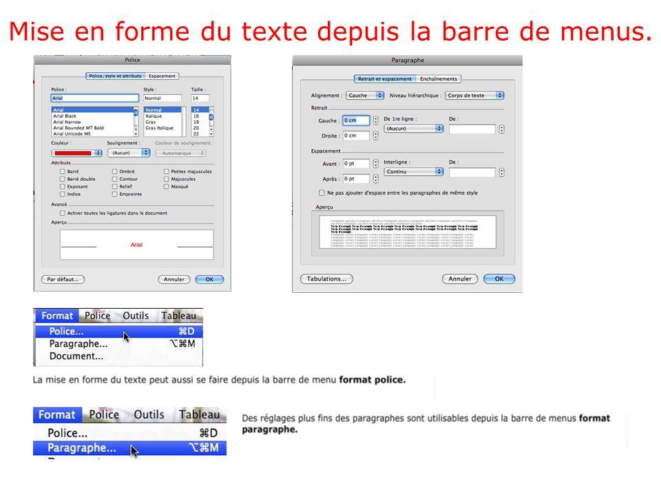Mise en forme du texte depuis la barre de menus.