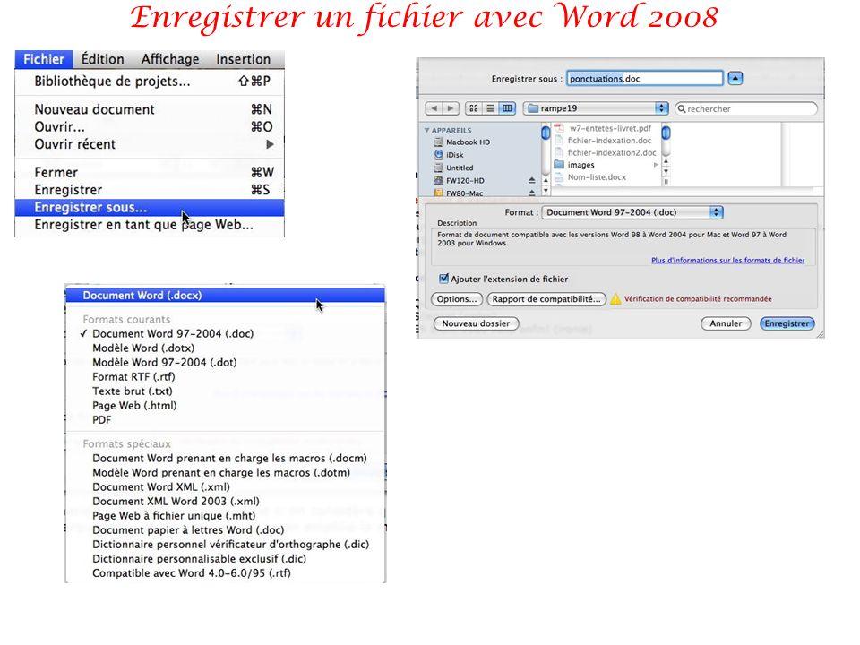 Enregistrer un fichier avec Word 2008