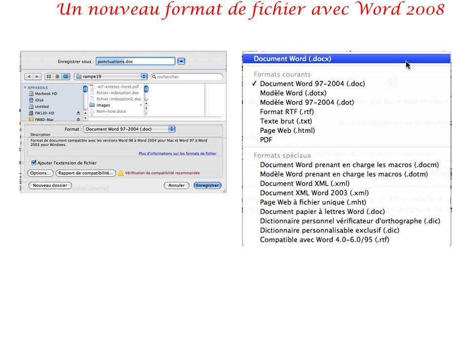 Un nouveau format de fichier avec Word 2008