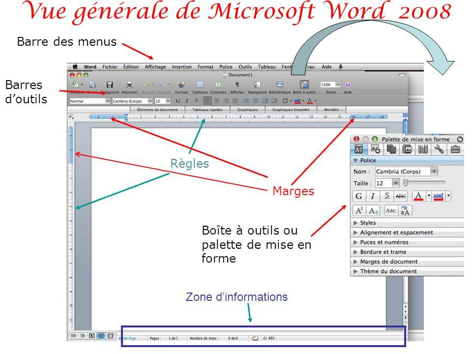 Vue générale de Microsoft Word 2008