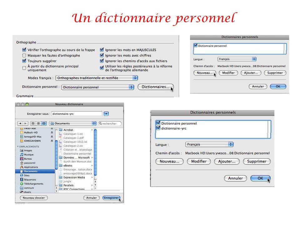 Un dictionnaire personnel
