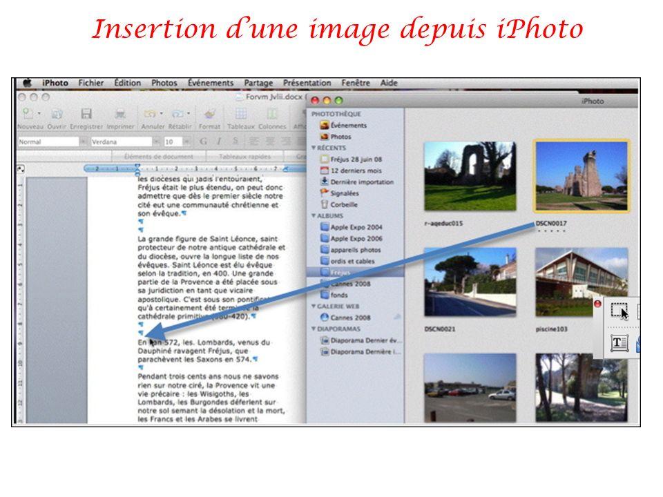 Insertion d'une image depuis iPhoto