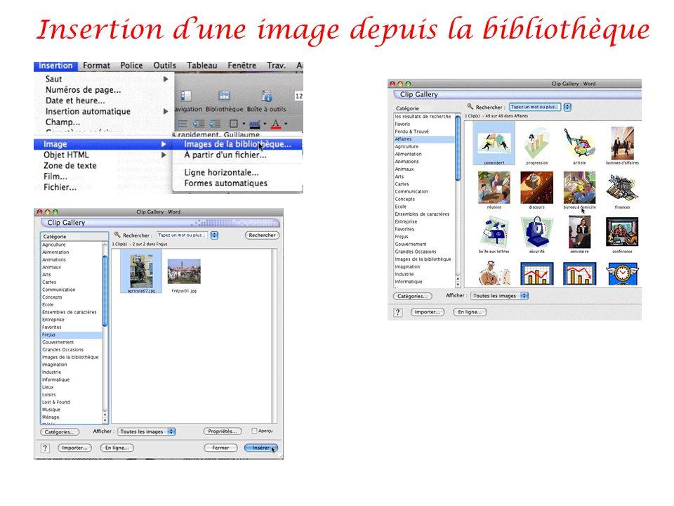 Insertion d'une image depuis la bibliothèque
