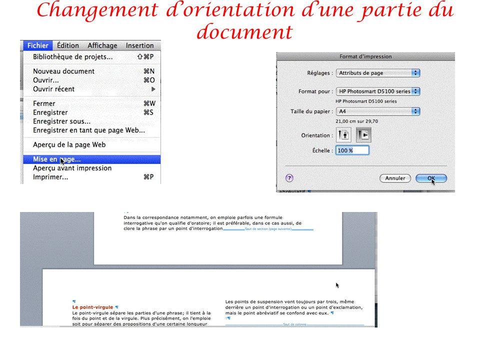 Changement d'orientation d'une partie du document