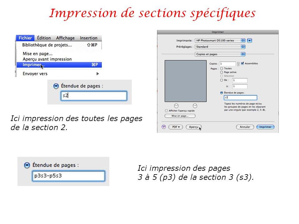 Impression de sections spécifiques
