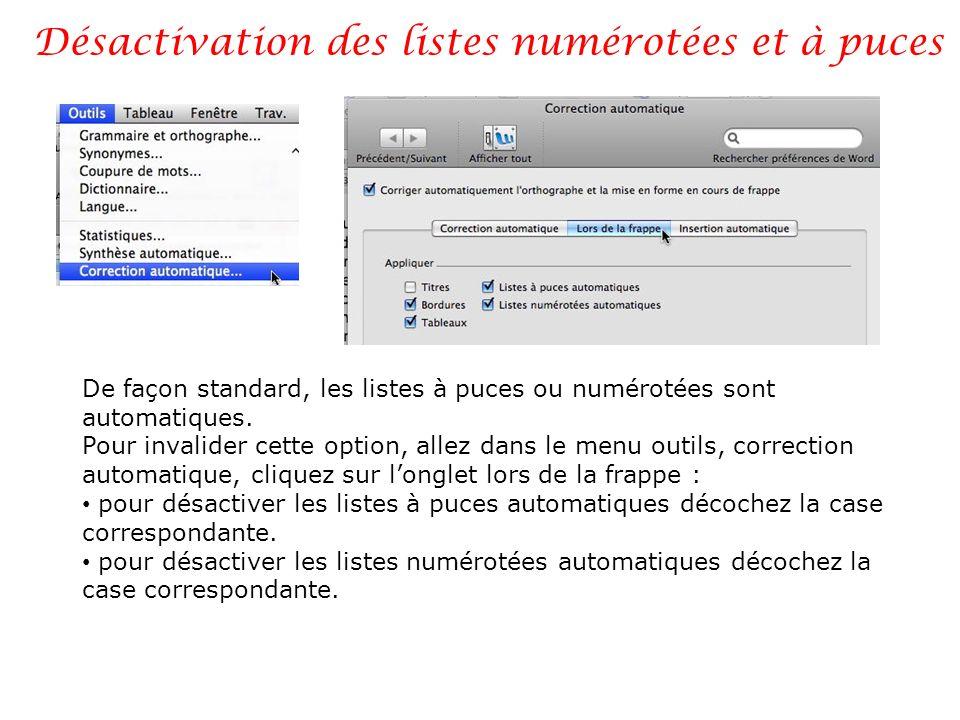 Désactivation des listes numérotées et à puces