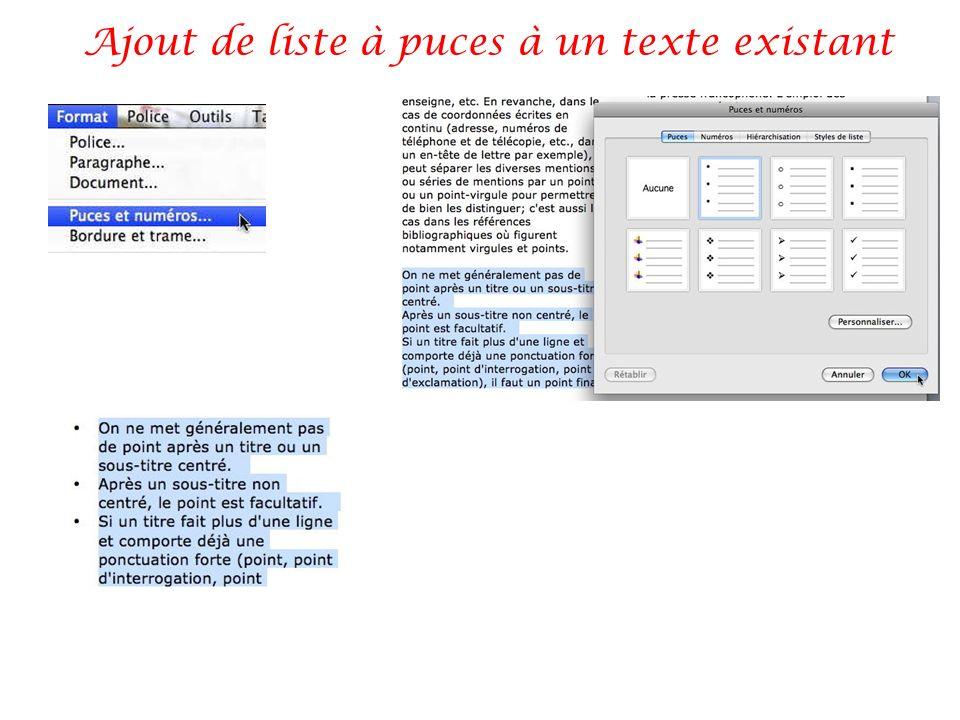 Ajout de liste à puces à un texte existant