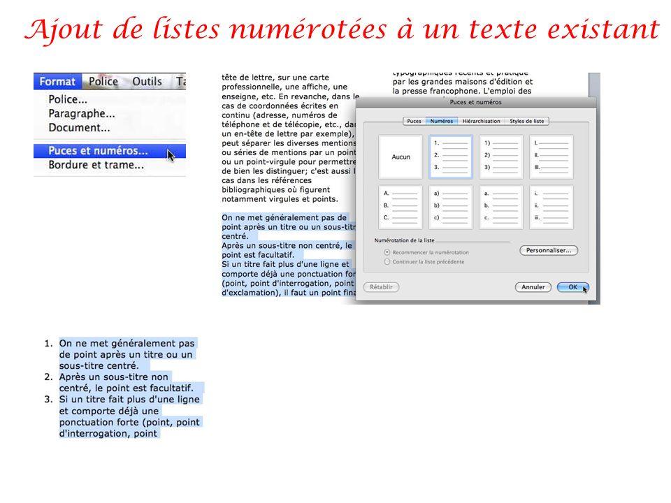 Ajout de listes numérotées à un texte existant