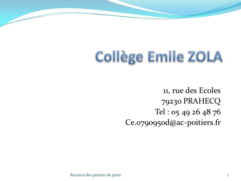 Collège Emile ZOLA 11, rue des Ecoles 79230 PRAHECQ