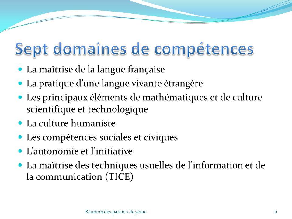 Sept domaines de compétences