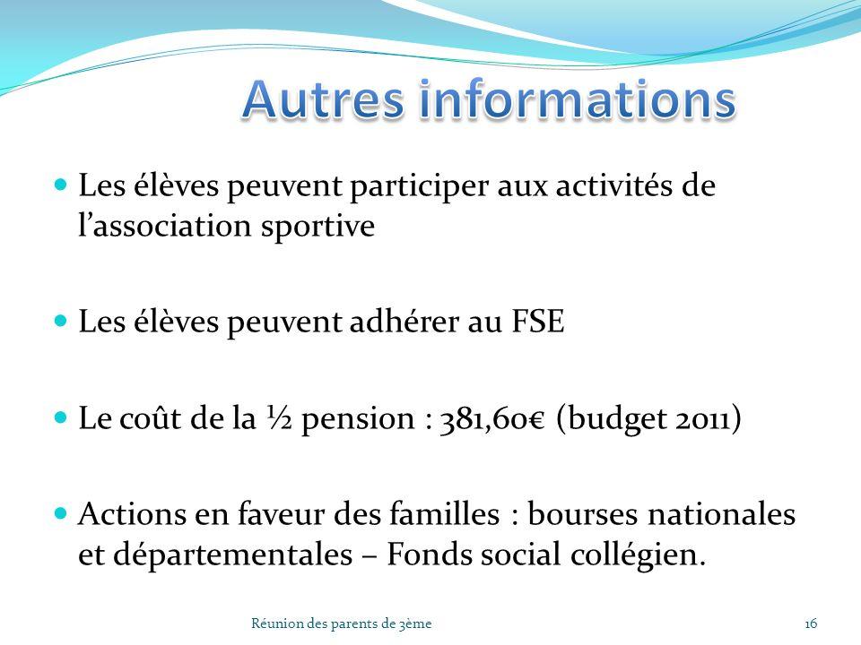 Autres informations Les élèves peuvent participer aux activités de l'association sportive. Les élèves peuvent adhérer au FSE.