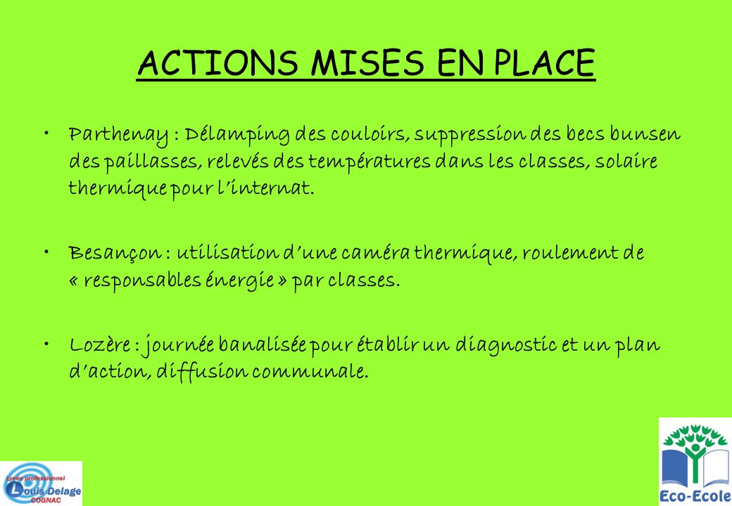 ACTIONS MISES EN PLACE