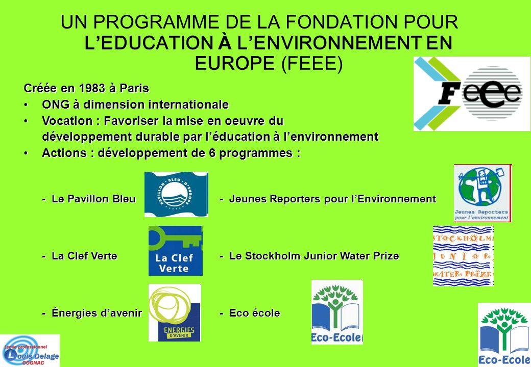 UN PROGRAMME DE LA FONDATION POUR L'EDUCATION À L'ENVIRONNEMENT EN EUROPE (FEEE)