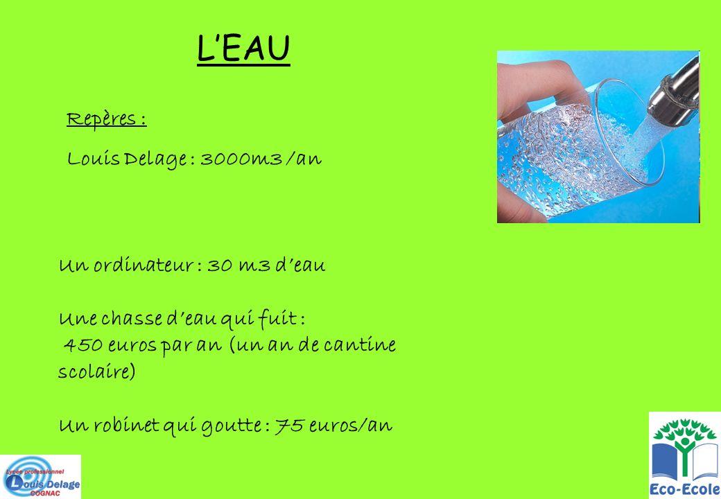 L'EAU Repères : Louis Delage : 3000m3 /an Un ordinateur : 30 m3 d'eau