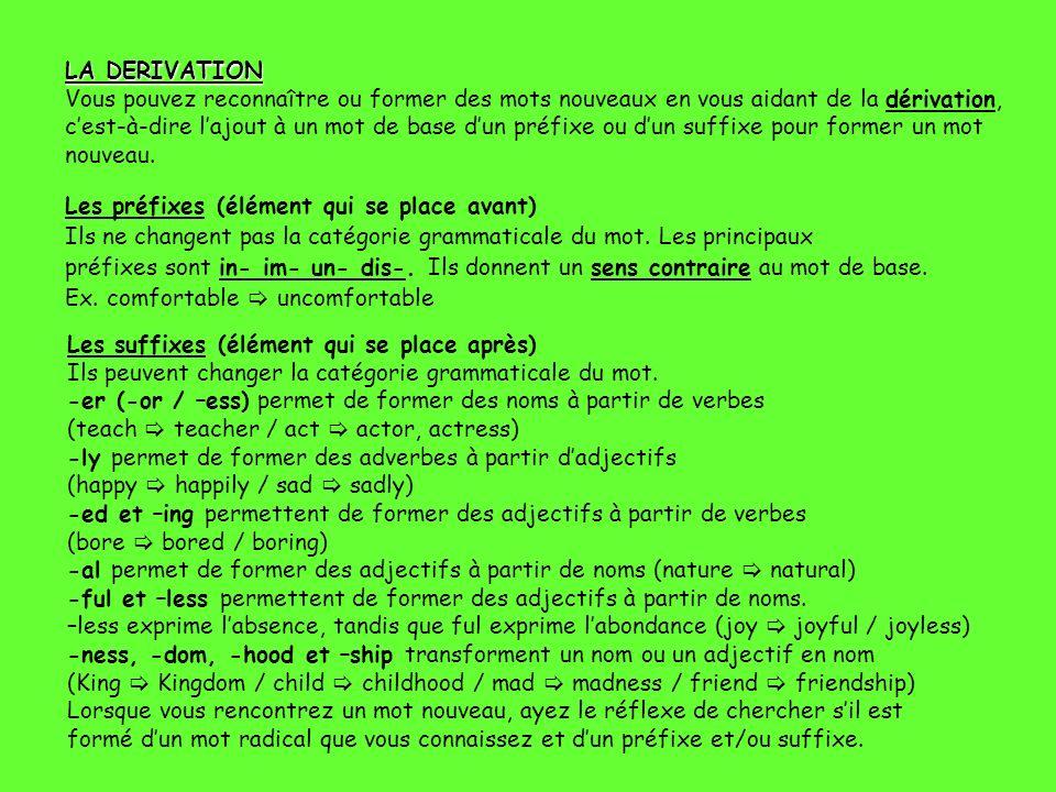LA DERIVATION Vous pouvez reconnaître ou former des mots nouveaux en vous aidant de la dérivation, c'est-à-dire l'ajout à un mot de base d'un préfixe ou d'un suffixe pour former un mot nouveau.