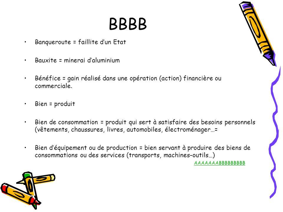 BBBB Banqueroute = faillite d'un Etat Bauxite = minerai d'aluminium