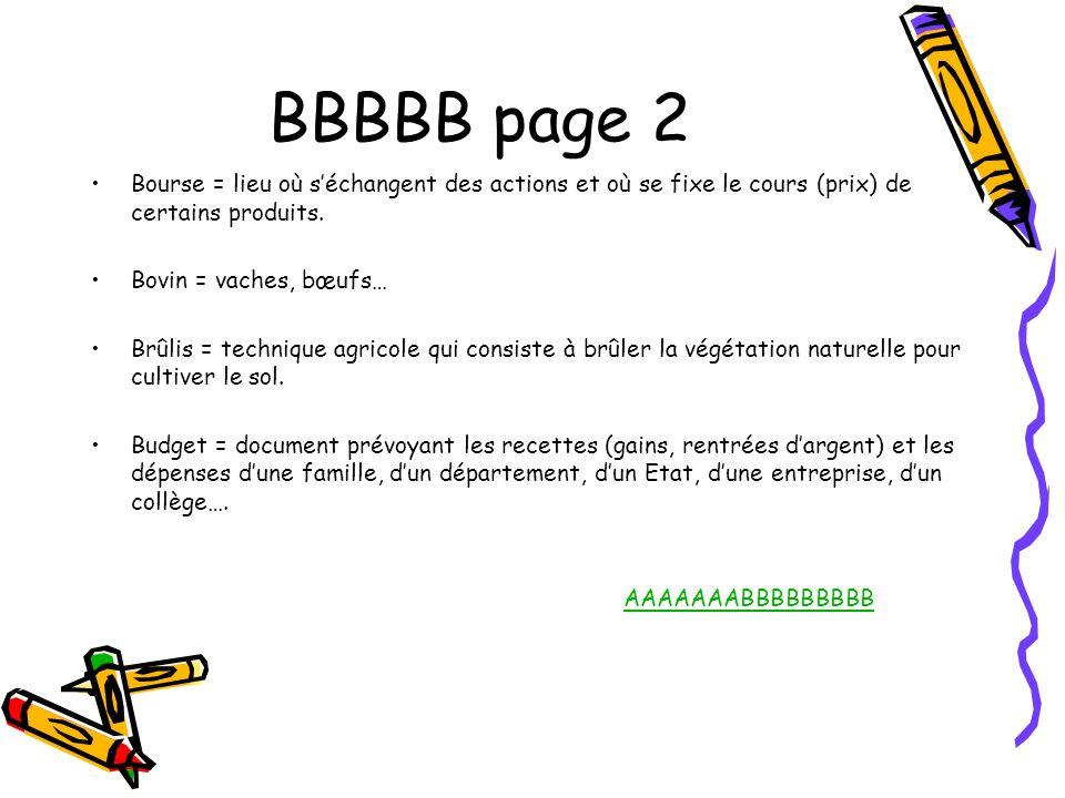 BBBBB page 2 Bourse = lieu où s'échangent des actions et où se fixe le cours (prix) de certains produits.