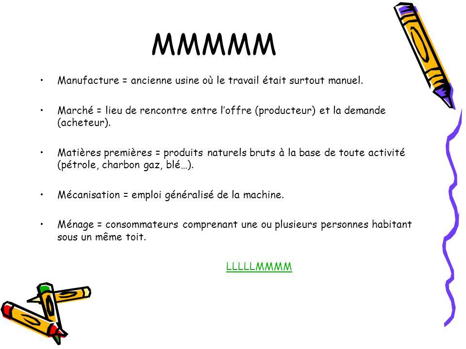 MMMMM Manufacture = ancienne usine où le travail était surtout manuel.