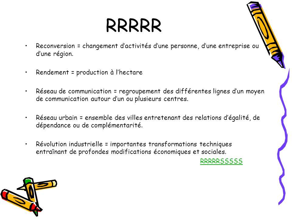 RRRRR Reconversion = changement d'activités d'une personne, d'une entreprise ou d'une région. Rendement = production à l'hectare.