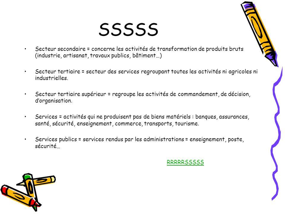 SSSSS Secteur secondaire = concerne les activités de transformation de produits bruts (industrie, artisanat, travaux publics, bâtiment…)