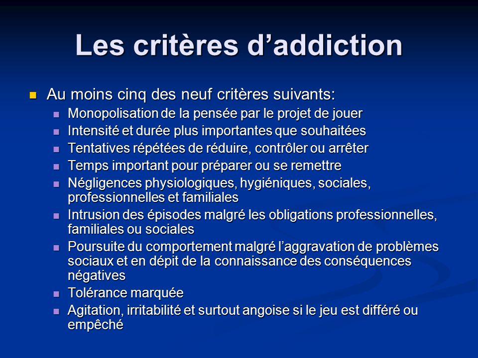 Les critères d'addiction