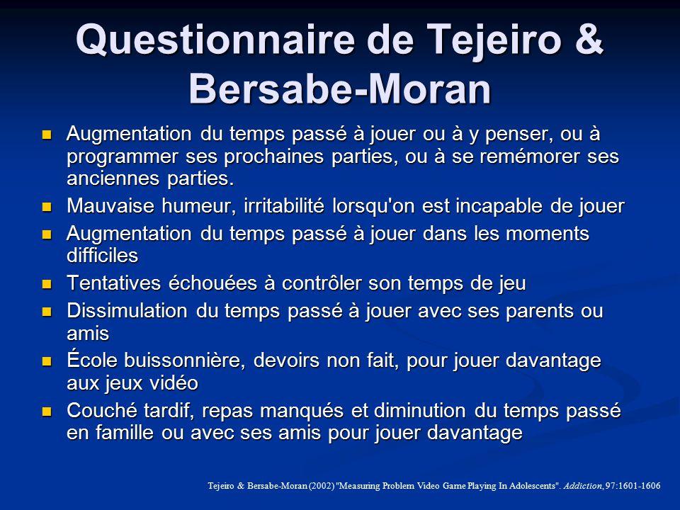 Questionnaire de Tejeiro & Bersabe-Moran