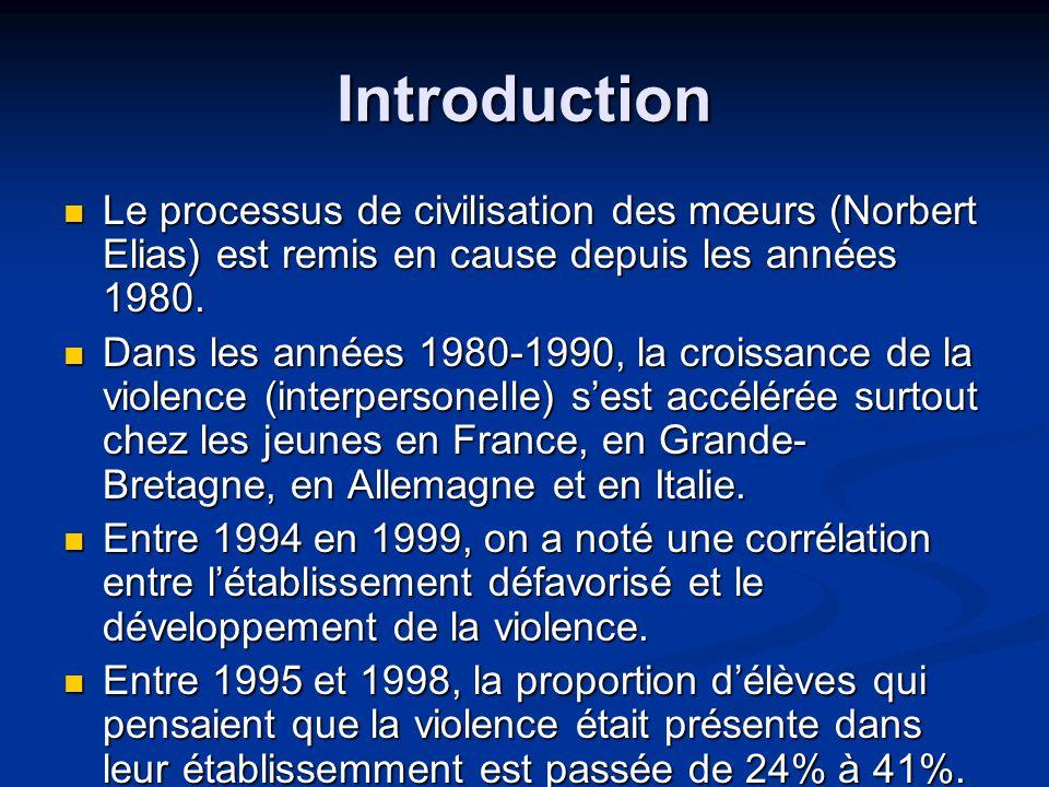 Introduction Le processus de civilisation des mœurs (Norbert Elias) est remis en cause depuis les années 1980.
