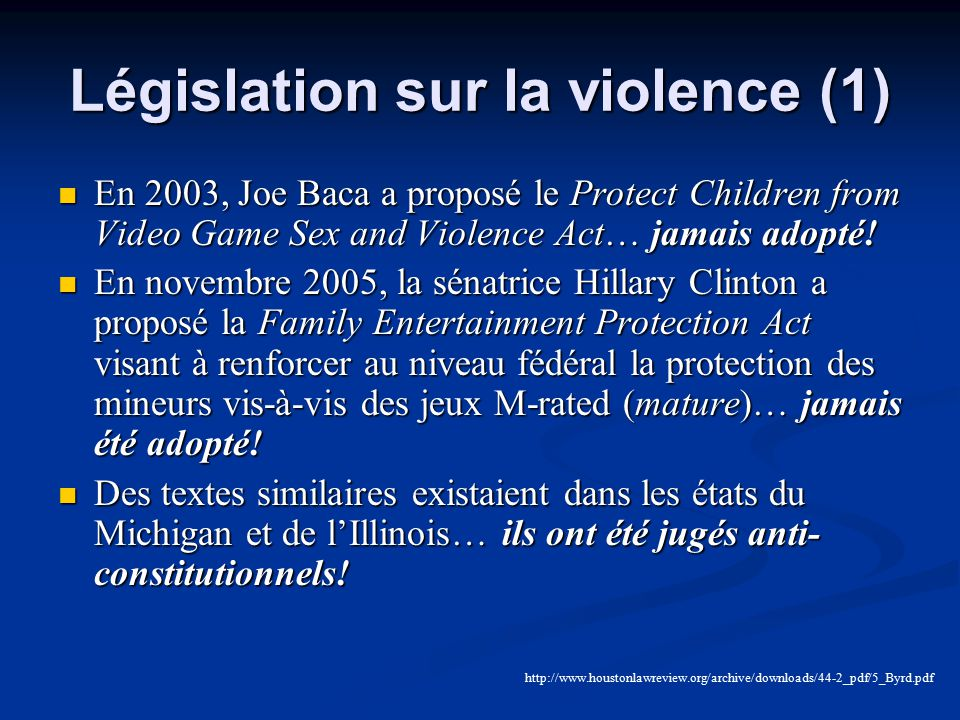 Législation sur la violence (1)