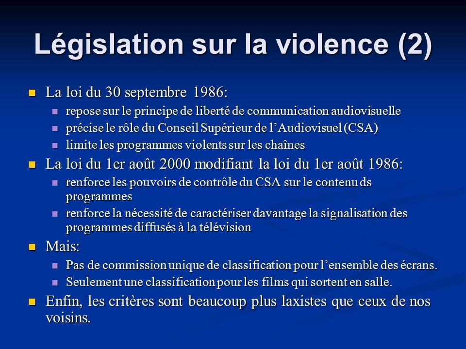 Législation sur la violence (2)