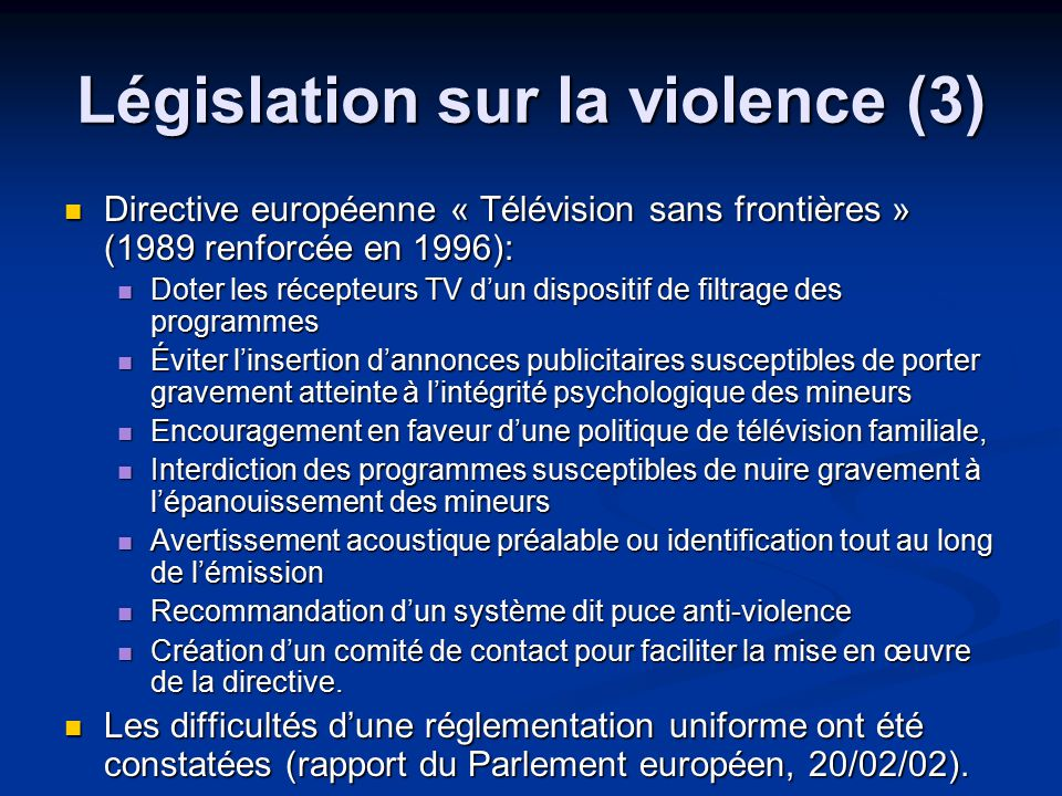 Législation sur la violence (3)