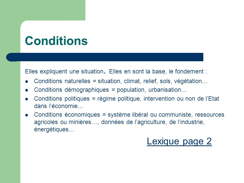 Conditions Lexique page 2