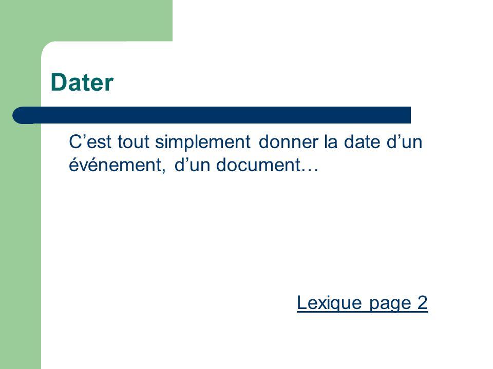 Dater C'est tout simplement donner la date d'un événement, d'un document… Lexique page 2
