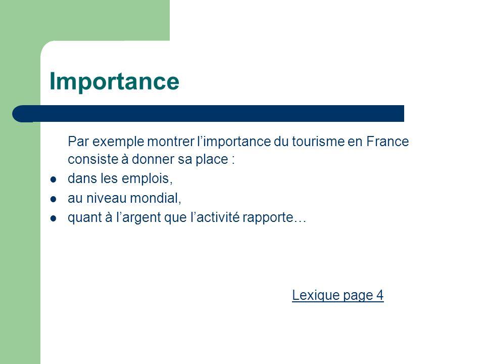 Importance Par exemple montrer l'importance du tourisme en France consiste à donner sa place : dans les emplois,