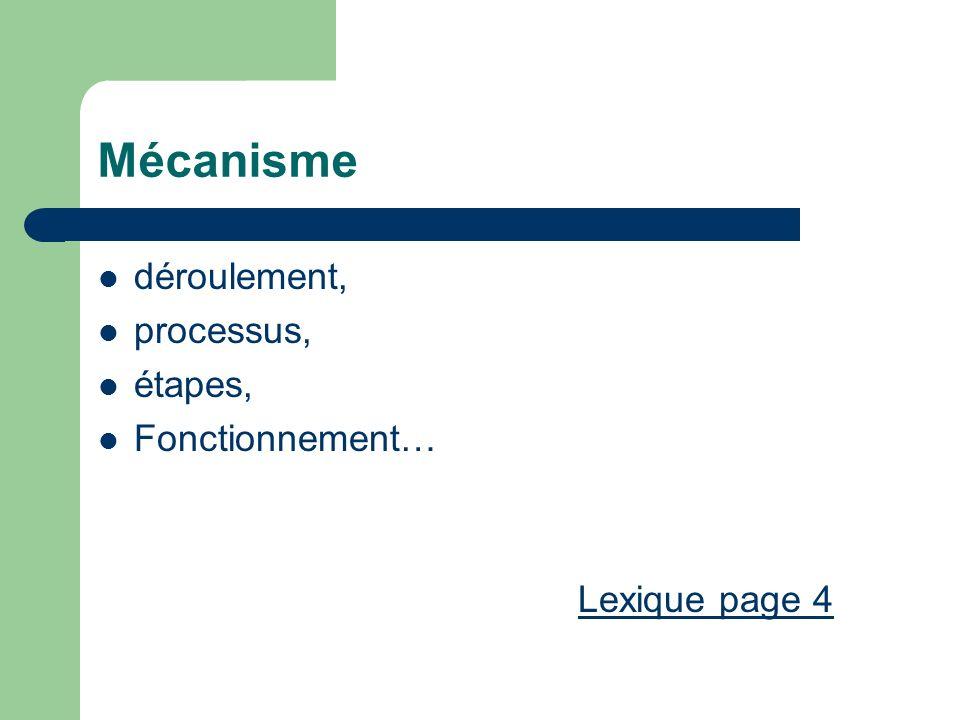 Mécanisme déroulement, processus, étapes, Fonctionnement…
