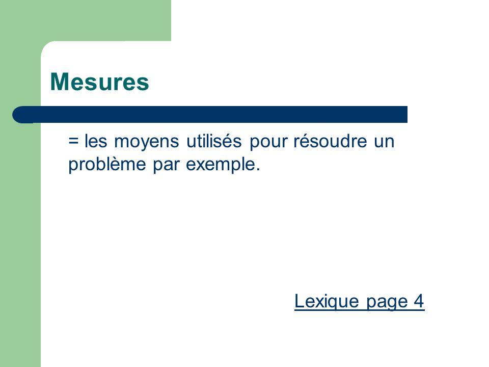 Mesures = les moyens utilisés pour résoudre un problème par exemple.