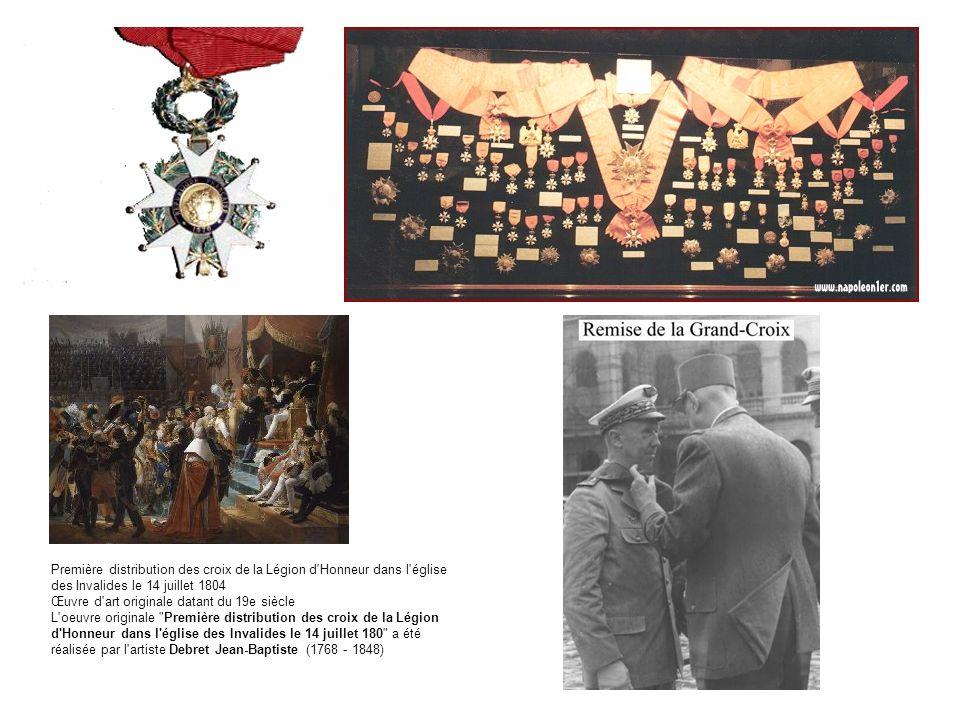 Première distribution des croix de la Légion d Honneur dans l église des Invalides le 14 juillet 1804 Œuvre d art originale datant du 19e siècle L oeuvre originale Première distribution des croix de la Légion d Honneur dans l église des Invalides le 14 juillet 180 a été réalisée par l artiste Debret Jean-Baptiste (1768 - 1848)