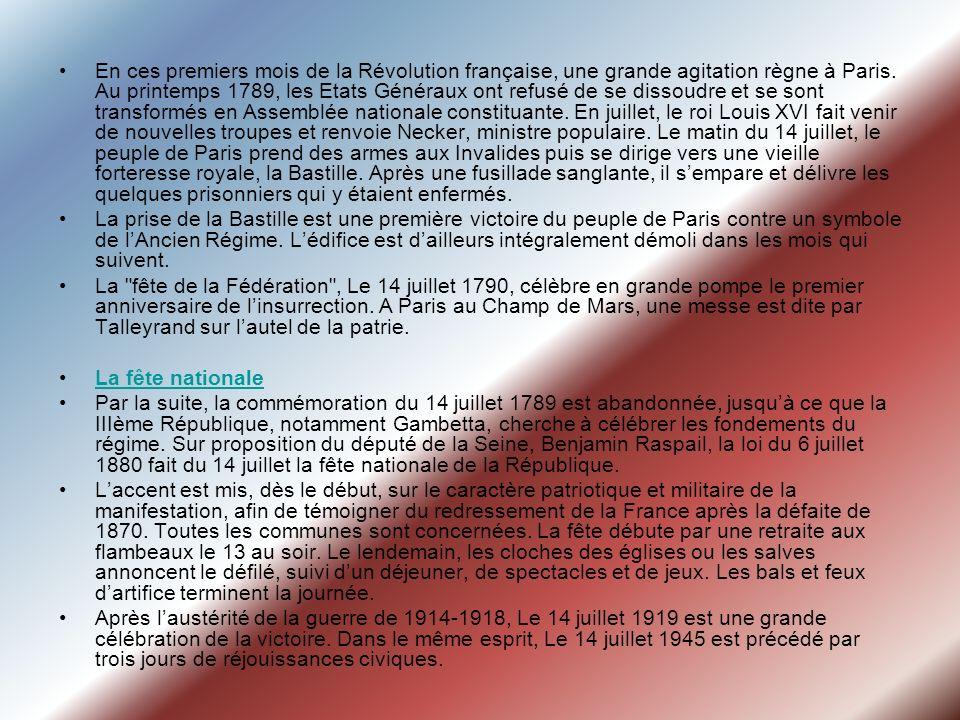 En ces premiers mois de la Révolution française, une grande agitation règne à Paris. Au printemps 1789, les Etats Généraux ont refusé de se dissoudre et se sont transformés en Assemblée nationale constituante. En juillet, le roi Louis XVI fait venir de nouvelles troupes et renvoie Necker, ministre populaire. Le matin du 14 juillet, le peuple de Paris prend des armes aux Invalides puis se dirige vers une vieille forteresse royale, la Bastille. Après une fusillade sanglante, il s'empare et délivre les quelques prisonniers qui y étaient enfermés.