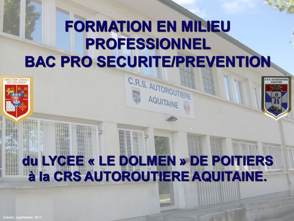 FORMATION EN MILIEU PROFESSIONNEL BAC PRO SECURITE/PREVENTION
